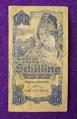 Lot of 1945 Austria 100, 20 (2), 10 Schilling of first post WWII currency