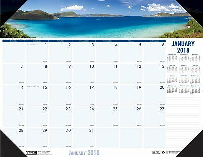 OpenBox House of Doolittle 2018 Monthly Desk Pad Calendar, Earthscapes 22 x 17 -