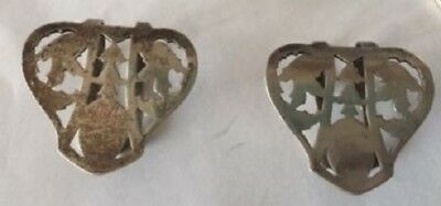 Antique Arts & Crafts cutout Webster Pair of sterling silver Napkin Clips