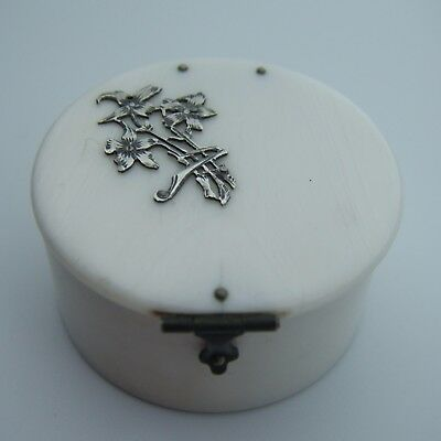 A Mid C19th Century French Silver & Mutton Bone Hinged Trinket Pill or Rouge Box