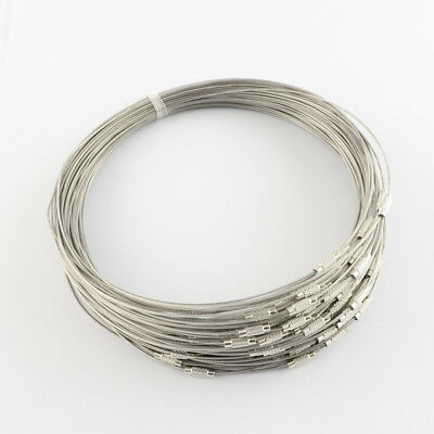 BULK Neck Wires Necklace Making Silver Stainless Steel Wire Chokers 20 pieces