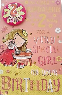 GRANDDAUGHTER 2nd BIRTHDAY CARD BADGE AGE 2 TODAY DESIGN SIZE 9