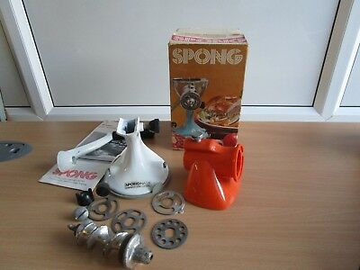 VINTAGE SALTER/SPONG ORANGE  Mincer Meat & Vegetables-4 Cutters-Suction Base