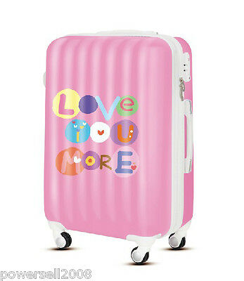 "28"" New TSA Lock Universal Wheel Pink Love Print ABS+PC Travel Suitcase Luggage"