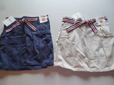 Gymboree Uniform Shop Navy Blue OR Khaki Skort Skirt w/Belt  6 9 NEW