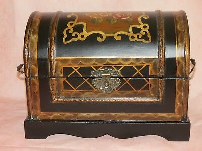 Vintage Hand Painted Large Domed Top Treasure Chest Jewelry Trinket Box
