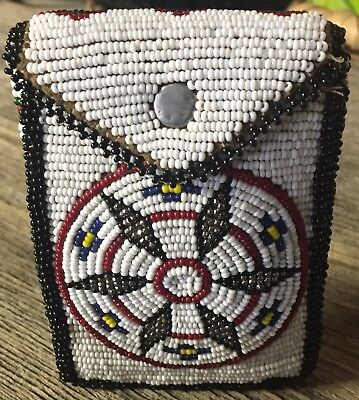Native American beaded cigarette package carrying case Vintage