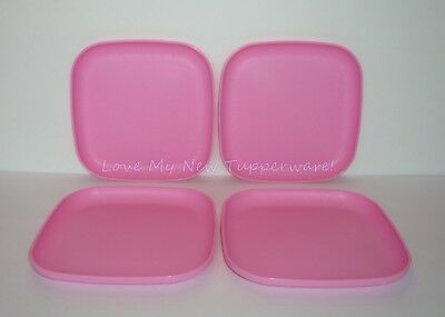 Tupperware Square Luncheon Plates Set of 4 Raised Edges 8  Pink Rare New & TUPPERWARE 4 LUNCHEON Square Plates 8