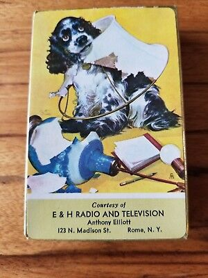 """Vintage Staehle """"butch"""" Cocker Spaniel Deck Cards Adv. E&h Radio And Television"""