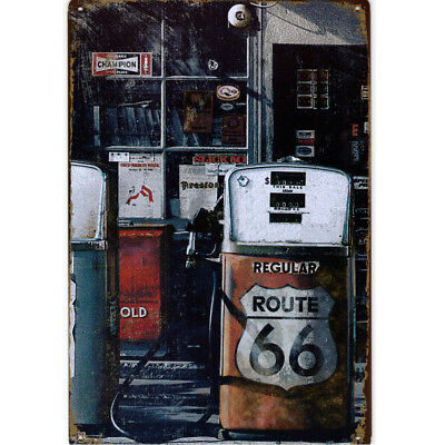 Retro Blechschild US Highway Route 66 Nostalgie Wanddeko Metallschild Biker USA