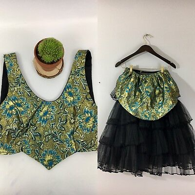 Unfinished Dance Halloween Costume Blue Gold Green Tapestry Black Petticoat Sm