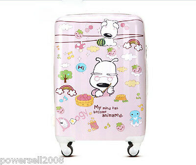 "28"" New Girls Lovely Cartoon Universal Wheel ABS+PC Travel Suitcase Luggage LLX"