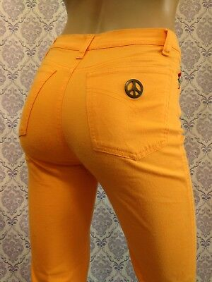VTG 90s Moschino Jeans Womens XS Pale Orange Stretch Pants High Waist Peace Sign