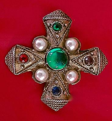 ~ Bronze Silver Tone Byzantine Multi Colored Cabochon MALTESE CROSS Pin Brooch