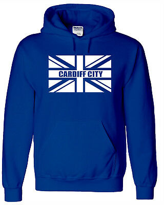 Cardiff City Fans Themed Union Jack Hoodie All Adult Sizes