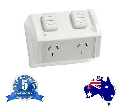 Double Weatherproof Power Point Outlet Socket Weather GPO External Outdoor