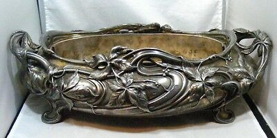 Victor Saglier Art Nouveau Ornate Silverplate Marked V S Planter Serving Dish