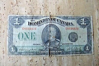1923 Dominion of Canada One Dollar Note - Black Seal