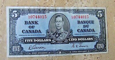 1937 Bank of Canada Five Dollar Note - GORDON / TOWERS -  EF