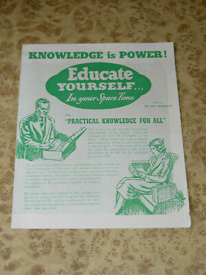 1941 Practical Knowledge Brochure ~Classic 40s WW2 Era Advertising Encyclopedia