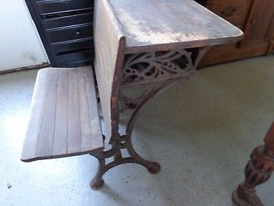 Two 2 antique childs school house desks vintage old wood and wrought iron 1879