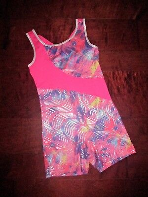 EUC Boutique Danskin Now Girl Sz L 10/12 Leotard Unitard Pink Shimmer Gymnastics