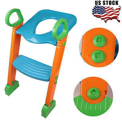 Potty Trainer Toilet Seat Chair Kids Toddler W/ Ladder Step Up Training Stool US