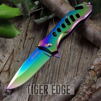 SPRING ASSISTED RAINBOW TAC FORCE EDC Tactical Knife Open Folding Pocket Blade