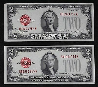 Cons Pair $2 1928C CU red seal US Notes B81961754-55A two dollar series C FRESHP