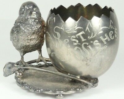 Wilcox Silverplate Co. Toothpick Holder Chicken and Egg Wishbone Best Wishes
