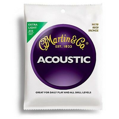 Martin 80/20Bronze Round Wound Extra Light Acoustic Guitar Strings 10 - 47 M170