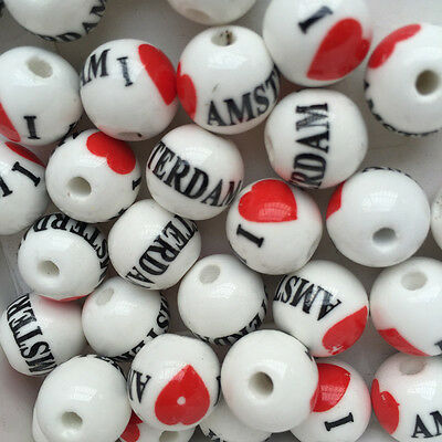 Bulk Pretty 20pcs Refinement Round Porcelain Beads Findings 12mm Loose Spacer .