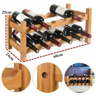 Wine 12 Bottle Rack Storage Holder Natural Wooden Display Organiser Bamboo Bar