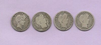 4 Different Date S-Mint Barber Dimes  1897,1898,1899,1900