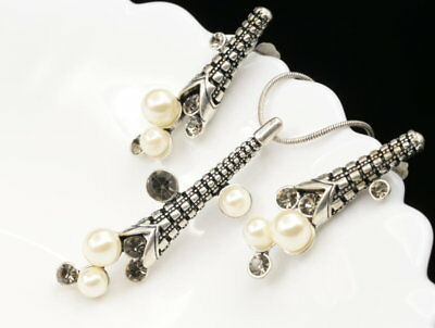 white pearl beads gray crystal silver plated pendant necklace drop earrings U01