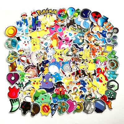93pcs Poke Monsters Skateboard Stickers Pack, Cute Laptop Bicycle Luggage Labels