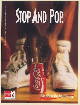 1992 Coke Coca-Cola Classic Can Stop and Pop NBA Basketball Print Ad