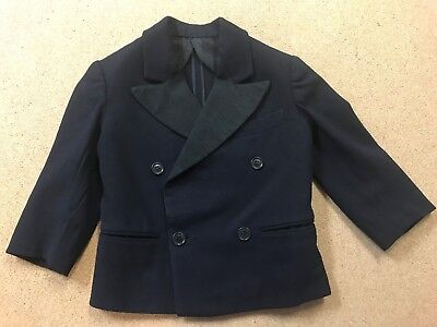Vintage 1940s-1950s Linett Double Breasted Black Wool Boy's Size 3 Tuxedo Jacket
