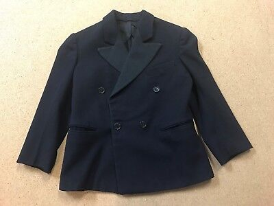 Vintage 1940s-1950s Linett Double Breasted Black Wool Boy's Size 8 Tuxedo Jacket