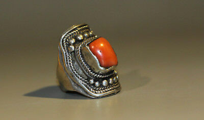 Wonderful Nice 19th Century Old Antique Tibet Noble Pure Silver Coral Ring Jewel