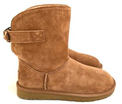 aaa1852fbbc UGG REMORA CHESTNUT Suede with Bucke Detail Women's Slip On Boots Size 6