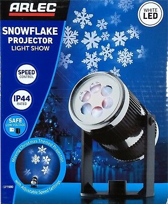 Christmas Snowflake Projector Light Show White LED Weatherproof Outdoor IP44