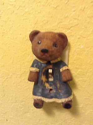 Antique Wall Light Switck Plate Cover Tedy Bear
