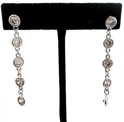 CZ By K SOLEIL Round Cut Cubic Zirconia Silver Plated Chain Dangle Stud Earrings