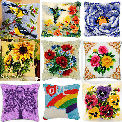 DIY Latch Hook Kit 15 models Needlecrafts Gift 16''by16'' Rug Cushion Cover Cute
