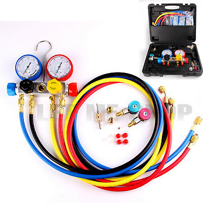 """R410a R22 R134a 4 Way AC Manifold Gauge w/Hoses Coupler Adapters + 1/2"""" ACME"""