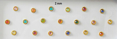 2 mm 2 Pack-38 Multicolor Small Bindi Indian Wedding Fake Nose Stud Belly Button