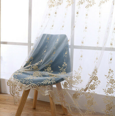 European Embroidered Beige Sheer Tulle Curtains Transparent Shiny Gauze 1 Piece