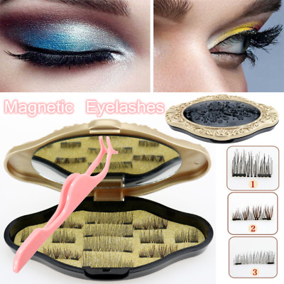 12Pcs/6 Pairs 3D Magnetic False Eyelashes Natural Eye Lashes Extension & Tweezer