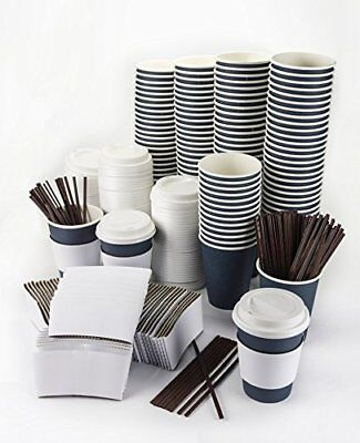 Disposable Hot Paper Coffee Cups+Lids+Sleeves+Stirrers 12oz 120 PACK